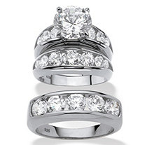 Round Cubic Zirconia 3-Piece His and Hers Trio Wedding Ring Set 8.59 TCW in Sterling Silver