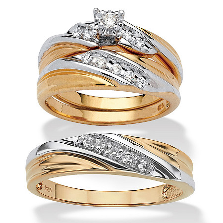 Round Cubic Zirconia 3-Piece His and Hers Two-Tone Trio Wedding Ring Set .24 TCW in 18k Gold Over Sterling Silver at PalmBeach Jewelry