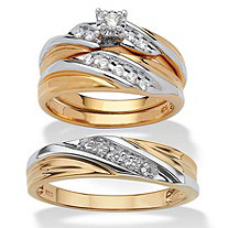 Round Cubic Zirconia 3-Piece His and Hers Two-Tone Trio Wedding Ring Set .24 TCW in 18k Gold Over Sterling Silver