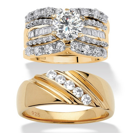 Round Cubic Zirconia 4-Piece His and Hers Wedding Ring Set 6.12 TCW in 18k Gold Over Sterling Silver at PalmBeach Jewelry