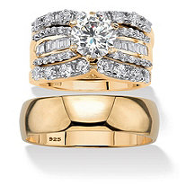 Round Cubic Zirconia 4-Piece His and Hers Trio Wedding Ring Set 5.62 TCW in 18k Gold Over Sterling Silver