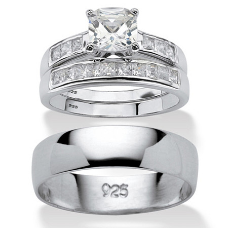 Cushion-Cut Cubic Zirconia His and Hers Trio Wedding Ring Set 1.94 TCW in Sterling Silver at PalmBeach Jewelry