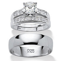 Cushion-Cut Cubic Zirconia His and Hers Trio Wedding Ring Set 1.94 TCW in Sterling Silver