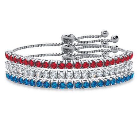 Round Red, White and Blue Crystal Patriotic 3-Piece Drawstring Bolo Bracelet Set in Silvertone 9.25