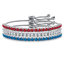 Round Red, White and Blue Crystal Patriotic 3-Piece Drawstring Bolo Bracelet Set in Silvertone 9.25""
