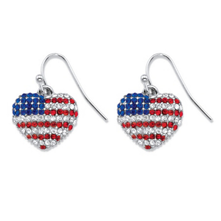 Red, White and Blue Crystal American Flag Drop Earrings in Silvertone at PalmBeach Jewelry