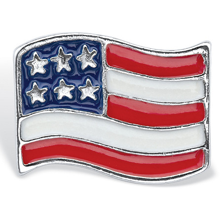 Red, White and Blue Enamel American Flag Pin in Silvertone at PalmBeach Jewelry