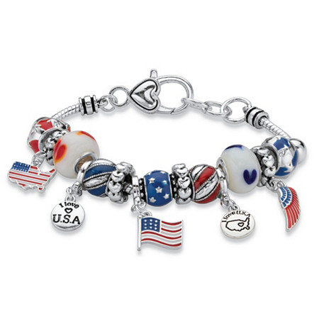 Patriotic Red, White and Blue Beaded Charm American Flag Bracelet in Antiqued Silvertone 7.5