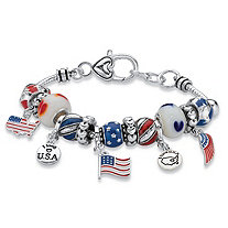 "Red, White and Blue Beaded Charm Patriotic American Flag Bracelet in Antiqued Silvertone 7.5"" - 8.5"""