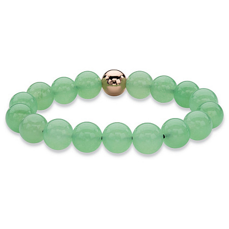 "Genuine Green Jade and 14k Gold-Plated Beaded Stretch Bracelet 7"" at PalmBeach Jewelry"