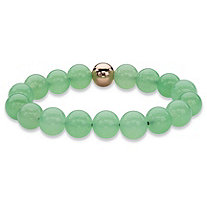 Genuine Green Jade and 14k Gold-Plated Beaded Stretch Bracelet 7""