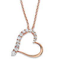 "Round Cubic Zirconia Heart-Shaped Pendant Necklace .88 TCW in Rose Gold Over Sterling Silver 18""-20"""