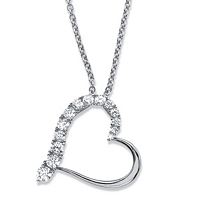Round Cubic Zirconia Heart-Shaped Pendant Necklace ONLY $24.99