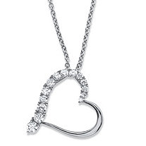 "Round Cubic Zirconia Heart-Shaped Pendant Necklace .88 TCW in Sterling Silver 18""-20"""