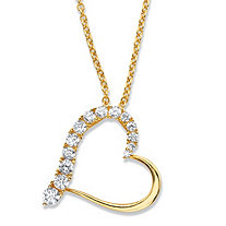 "Round Cubic Zirconia Heart-Shaped Pendant Necklace .88 TCW in 14k Gold over Sterling Silver 18""-20"""
