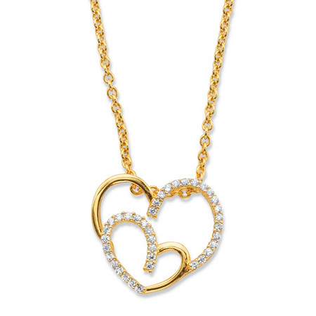"Round Cubic Zirconia Double Heart Pendant Necklace .19 TCW in 14k Gold over Sterling Silver 18""-20"" at PalmBeach Jewelry"
