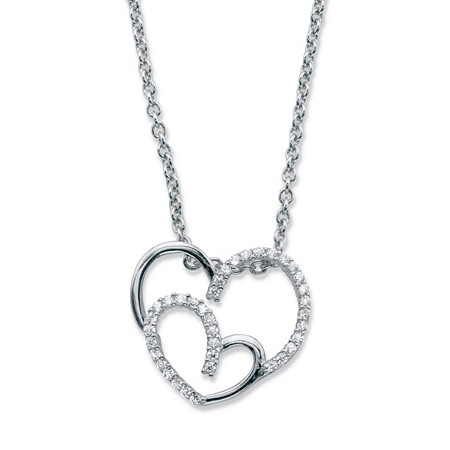 "Round Cubic Zirconia Double Heart Pendant Necklace .19 TCW in Sterling Silver 18""-20"" at PalmBeach Jewelry"