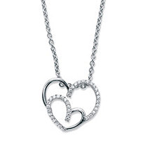 "Round Cubic Zirconia Double Heart Pendant Necklace .19 TCW in Sterling Silver 18""-20"""
