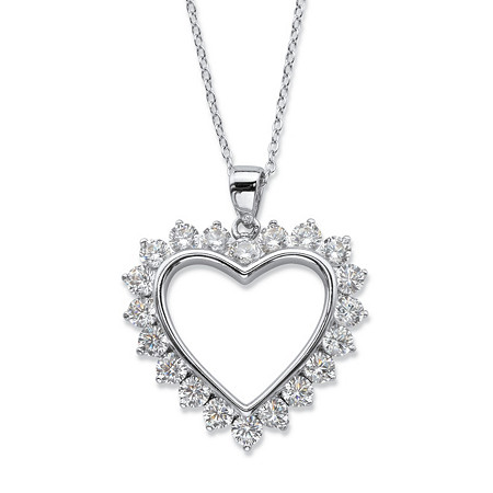 "Round Cubic Zirconia Heart-Shaped Pendant Necklace 2 TCW in Sterling Silver 18""-20"" at PalmBeach Jewelry"
