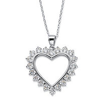 "Round Cubic Zirconia Heart-Shaped Pendant Necklace 2 TCW in Sterling Silver 18""-20"""