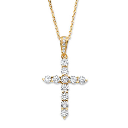 "Round Cubic Zirconia Cross Pendant Necklace 1.14 TCW in 14k Gold over Sterling Silver 18""-20"" at PalmBeach Jewelry"