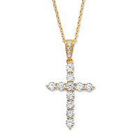 Round Cubic Zirconia Cross Pendant Necklace