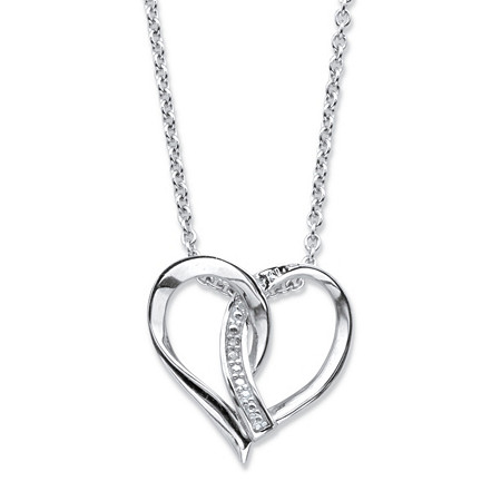 """Diamond Accent Intertwined Heart Pendant Necklace in Sterling Silver 18""""-20"""" at PalmBeach Jewelry"""
