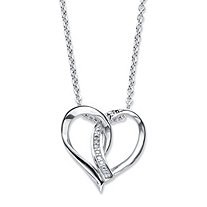 "Diamond Accent Intertwined Heart Pendant Necklace in Sterling Silver 18""-20"""
