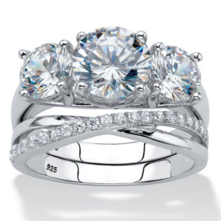 Round Cubic Zirconia 2-Piece Crossover Bridal Ring Set 4.15 TCW in Platinum over Sterling Silver at PalmBeach Jewelry