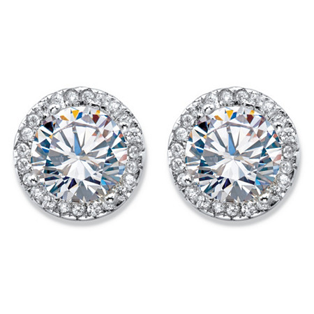 Round Cubic Zirconia Button Halo Earrings 3.23 TCW in Sterling Silver (10mm) at PalmBeach Jewelry