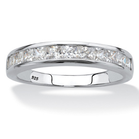 Princess-Cut Cubic Zirconia Channel-Set Ring .77 TCW Platinum Over Sterling Silver at PalmBeach Jewelry