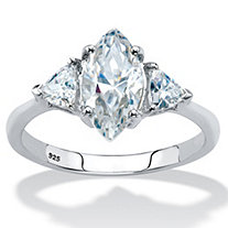 Marquise-Cut Cubic Zirconia 3-Stone Engagement Ring 1.90 TCW in Platinum over Sterling Silver