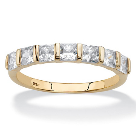 Princess-Cut Cubic Zirconia Channel-Set Ring 1.12 TCW in 14k Gold over Sterling Silver at PalmBeach Jewelry