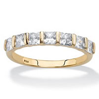 Princess-Cut CZ Channel-Set Ring 1.12 TCW In 14k Gold Over Sterling Silver