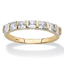 Princess-Cut Cubic Zirconia Channel-Set Ring 1.12 TCW in 14k Gold over Sterling Silver