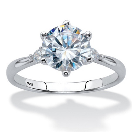 Round Cubic Zirconia Solitaire Engagement Ring 2.14 TCW in Sterling Silver at PalmBeach Jewelry
