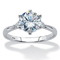 Round Cubic Zirconia Solitaire Engagement Ring 2.14 TCW in Sterling Silver