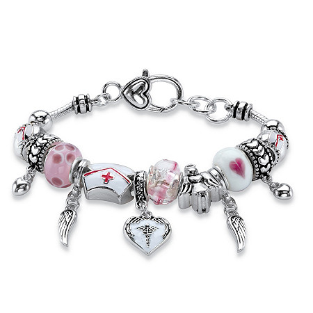 "Pink and White Medical Nurses Bali-Style Beaded Charm Bracelet in Silvertone 8"" at PalmBeach Jewelry"
