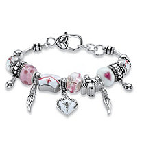 Pink and White Medical Nurses Bali-Style Beaded Charm Bracelet in Silvertone 8""