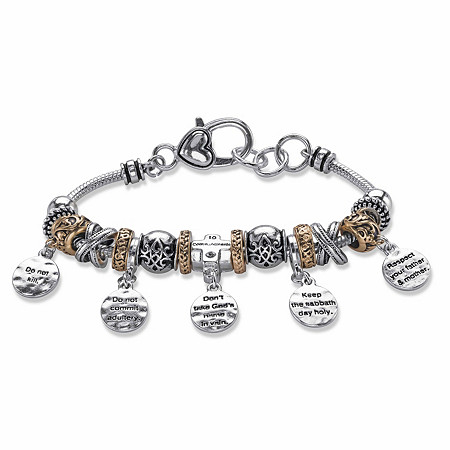 "Ten Commandments Bali-Style Beaded Charm Bracelet in Two-Tone Gold Tone and Silvertone 8"" at PalmBeach Jewelry"