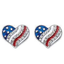 Crystal and Enamel Heart-Shaped American Flag Patriotic Holiday Earrings in Stainless Steel