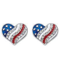 Crystal and Enamel Heart-Shaped American Flag Patriotic Holiday Earrings in Stainless Steel