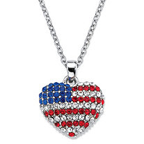 Red White and Blue Crystal Silvertone American Flag Patriotic Pendant Necklace 18""