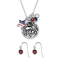 Red and Blue Crystal American Girl Patriotic Flag Charm 2-Piece Earrings and Pendant Necklace Set in Silvertone 18