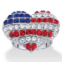 Red White And Blue Crystal American Flag Patriotic Heart-Shaped Ring