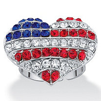 Red White and Blue Crystal American Flag Patriotic Heart-Shaped Ring in Silvertone