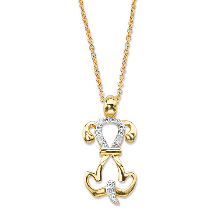 "Diamond Accent Dog Charm Pendant Necklace 14k Gold-Plated 18""-20"" at PalmBeach Jewelry"