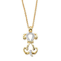 Diamond Accent Dog Charm Pendant Necklace 14k Gold-Plated 18