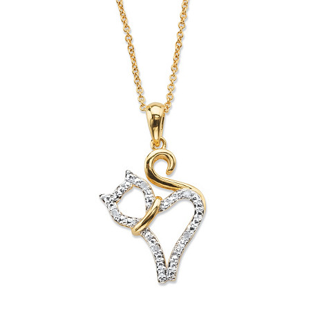 "Diamond Accent Cat Charm Pendant Necklace 14k Gold-Plated 18""-20"" at PalmBeach Jewelry"
