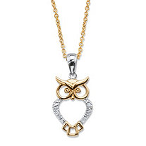 Diamond Accent Owl Charm Two-Tone Pendant Necklace 14k Gold-Plated 18